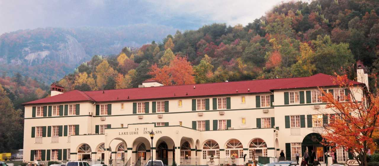 Lake Lure Inn with a colorful fall backdrop}