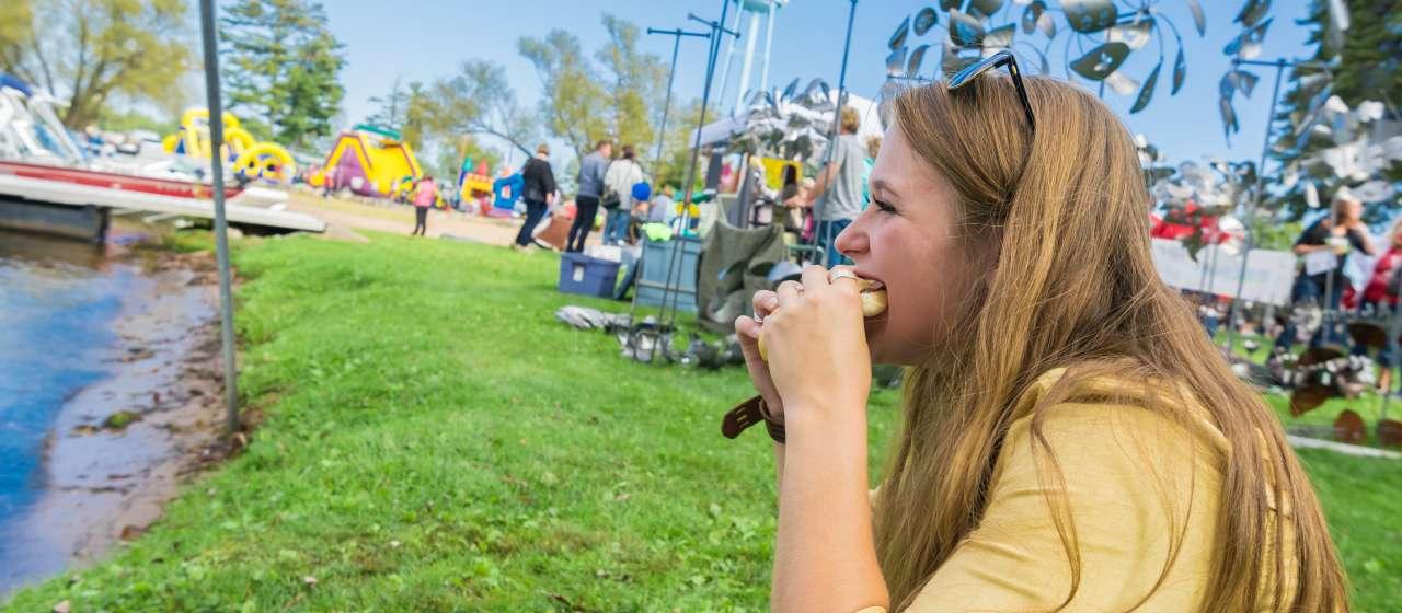 girl eating beef sandwich