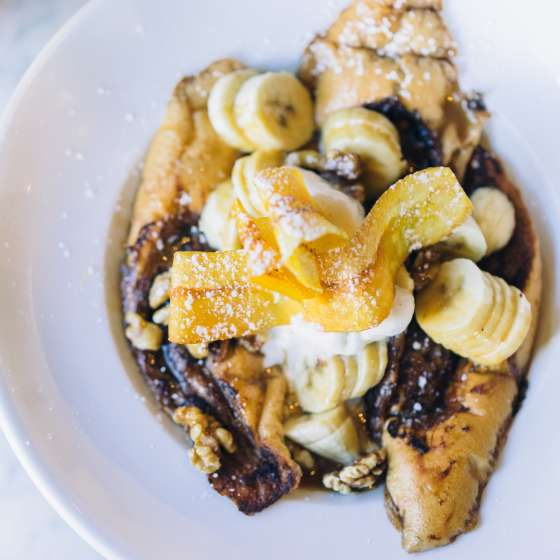 Bananas Foster French Toast - Brunch at Stanley