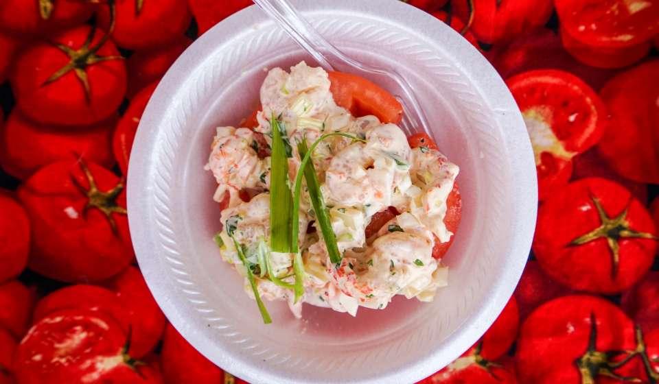Crawfish and Shrimp Stuffed Creole Tomato