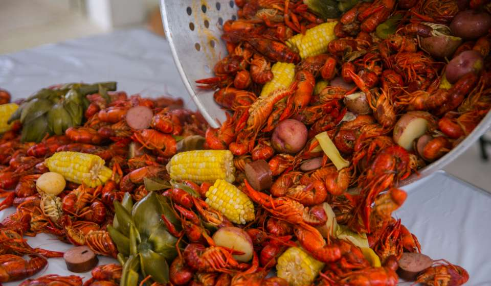 A traditional Cajun Crawfish Boil