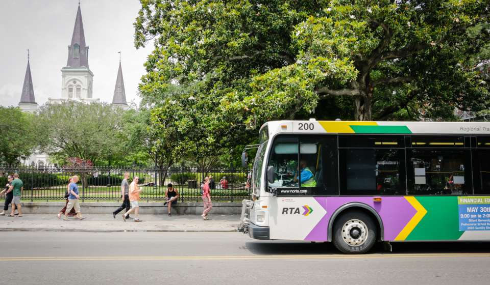 RTA Bus in front of Jackson Square