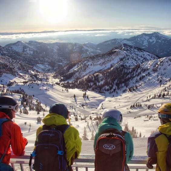 Friends Look Over Hidden Peak at Snowbird