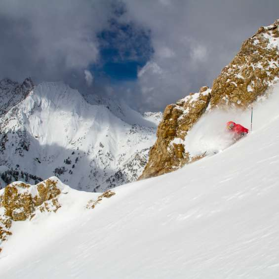Skier in Powder at Alta