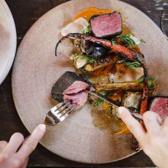 Steak Being Cut Up