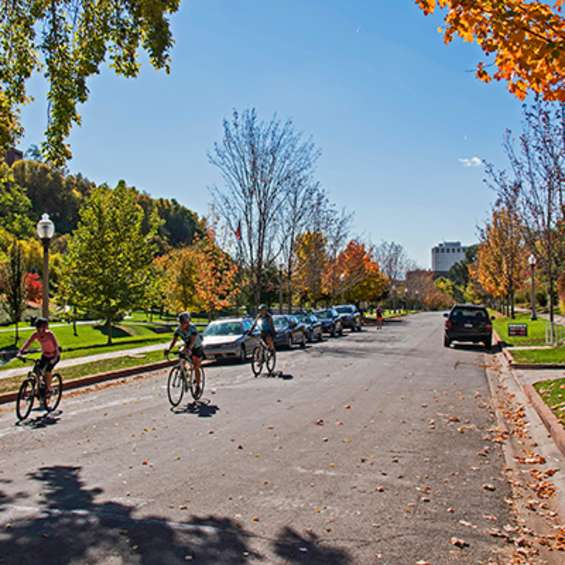 Small group of riders enjoying the autumn, photo by Kyle Jenkins