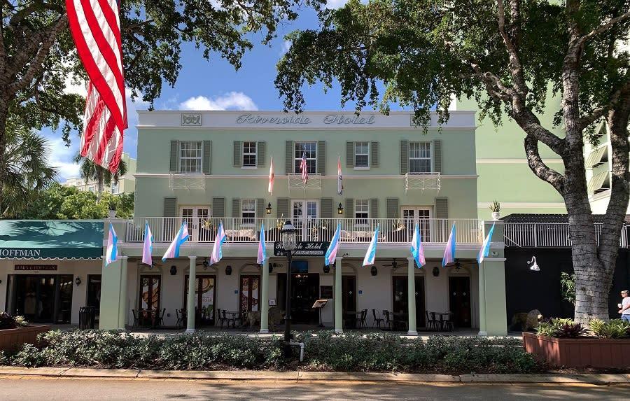 Riverside Hotel flying Transgender Flags