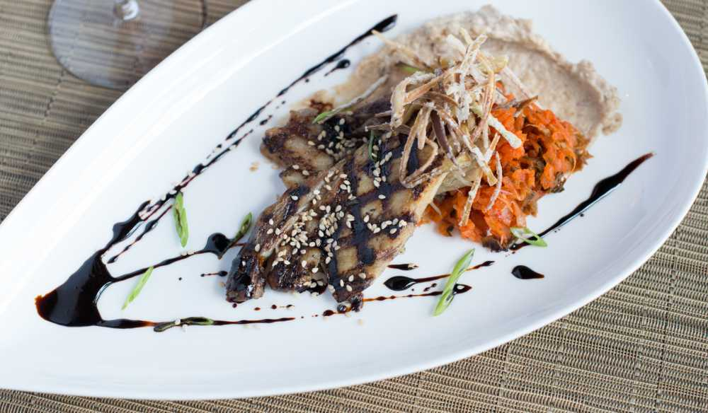 American Grocery Restaurant S Miso Honey Glazed Pork Belly Boiled Peanut Hummus And Kimchi
