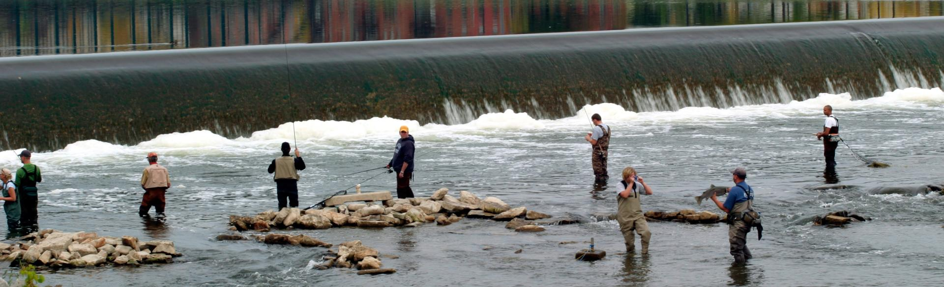 Fishing along the Grand River at the Sixth Street Dam.