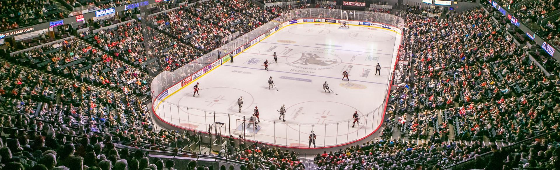 Inside a Griffins Hockey game at Van Andel Arena, 2018.
