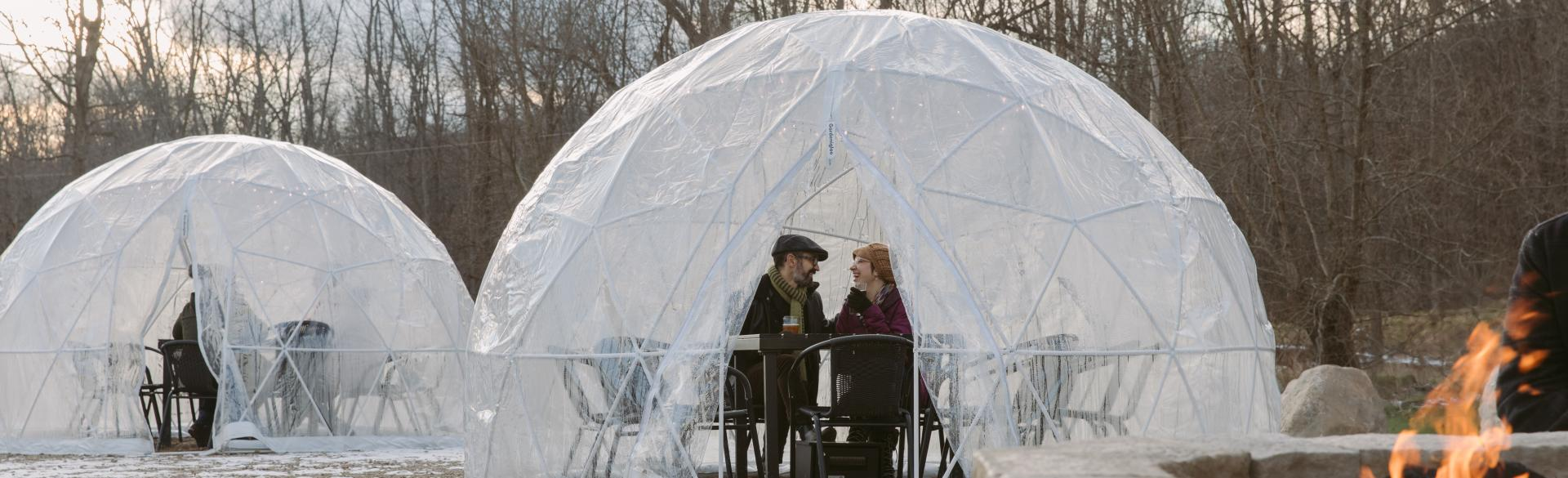 A Couple In a Gedome at a Local Brewery