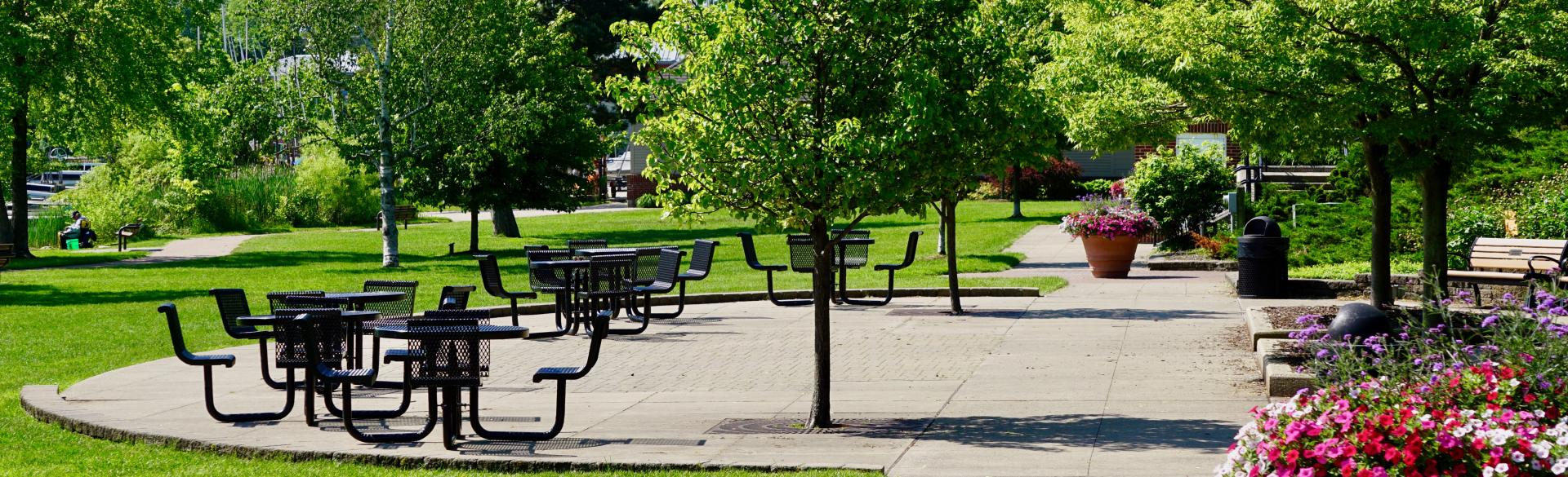 John Collins Park offers access to the paved Reeds Lake Trail, as well as accessible restrooms and ramps.