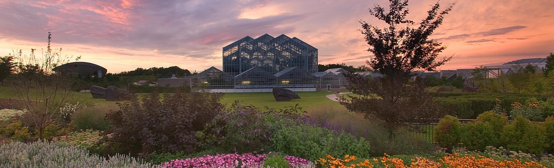 Sunset over Meijer Gardens at sunset in Grand Rapids, Michigan