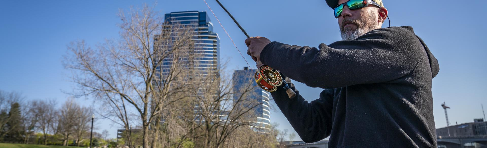 The Grand River is one of several great places to fish in Kent County.
