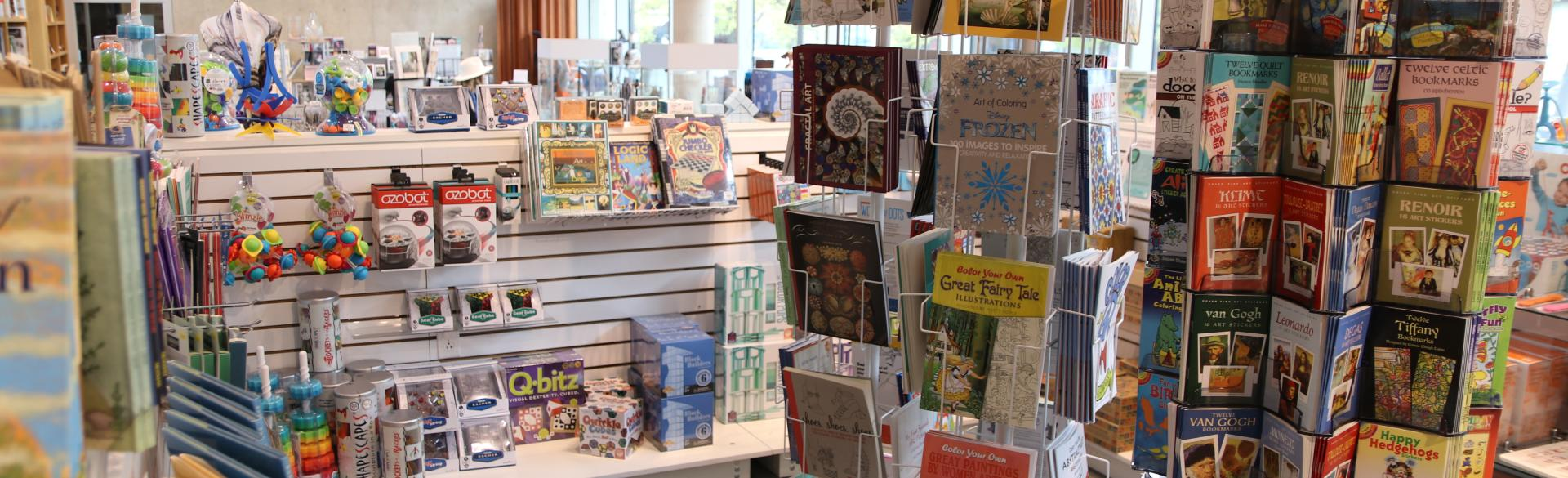 Cards and various other items for sale on display at the Grand Rapids Art Museum