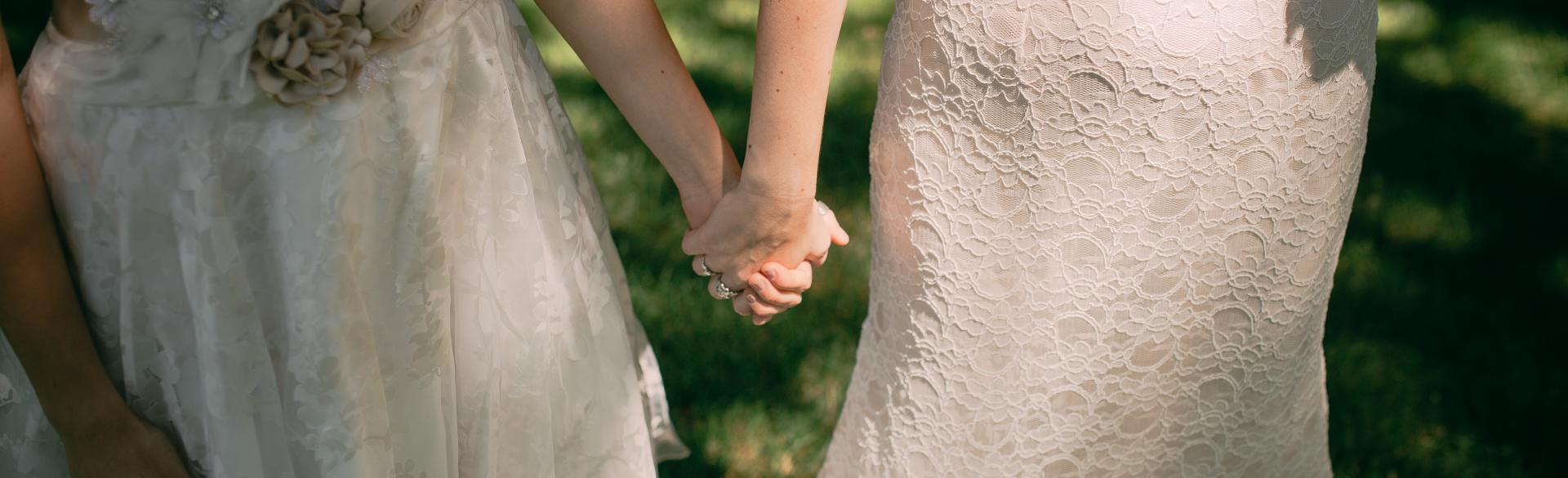 Brides holding hands at Fallasburg Park
