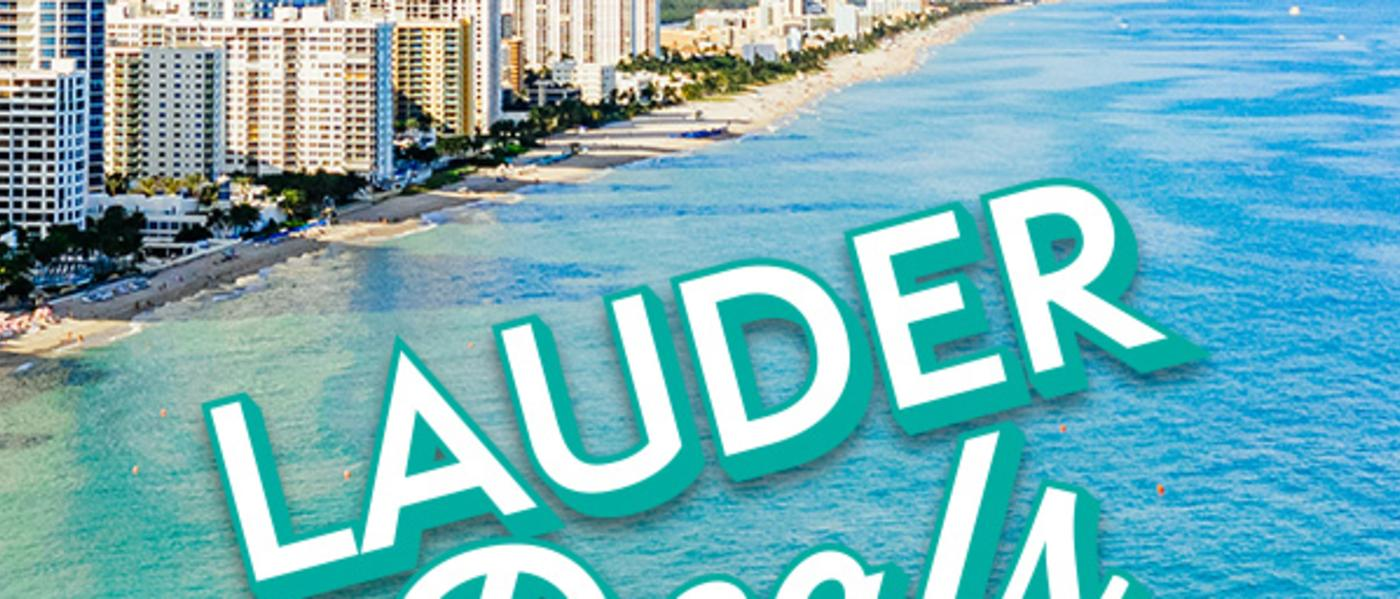 """Aerial view of buildings along Fort Lauderdale beaches with """"LauderDeals"""" logo"""