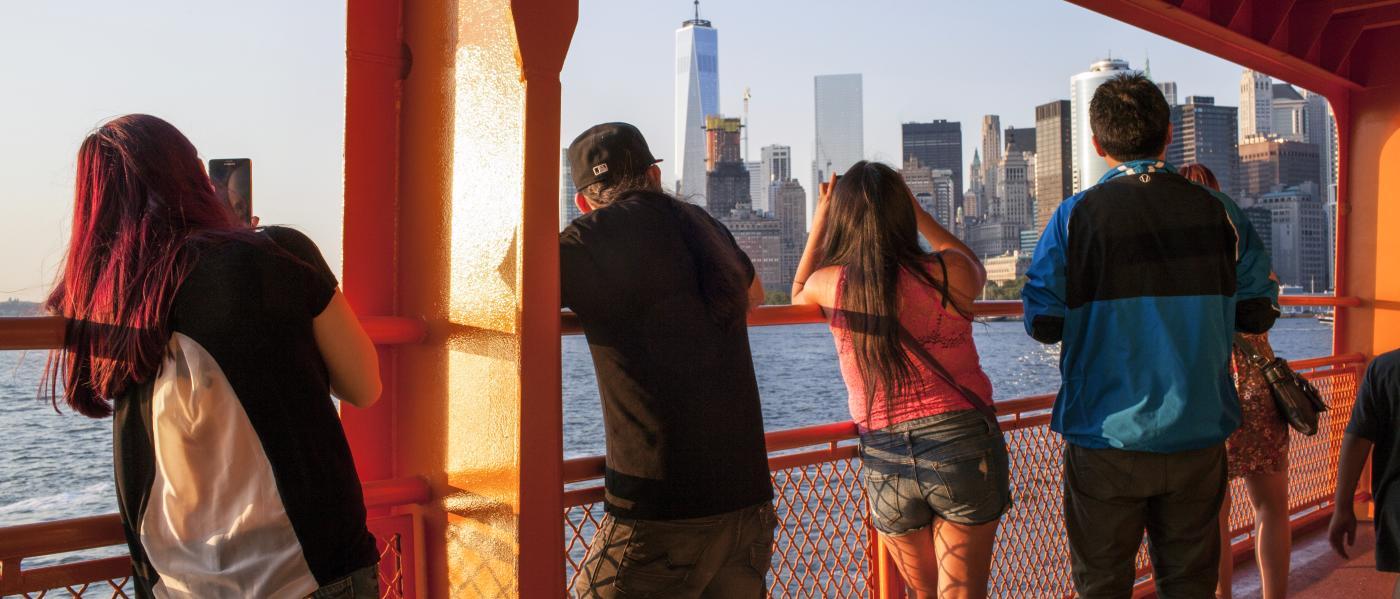 Staten island ferry, lower manhattan skyline