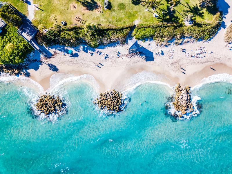 Aerial view of Deerfield Beach in Broward County, Florida