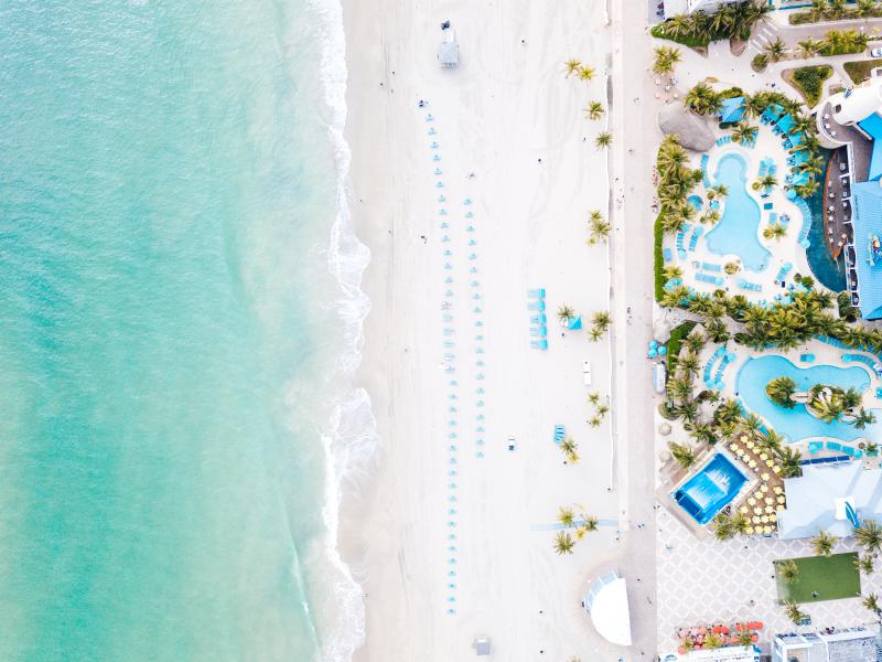 Aerial view of Hollywood Beach in Broward County, Florida