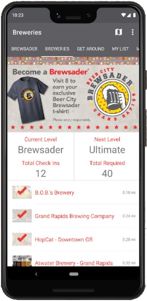 Brewsader App displayed on phone