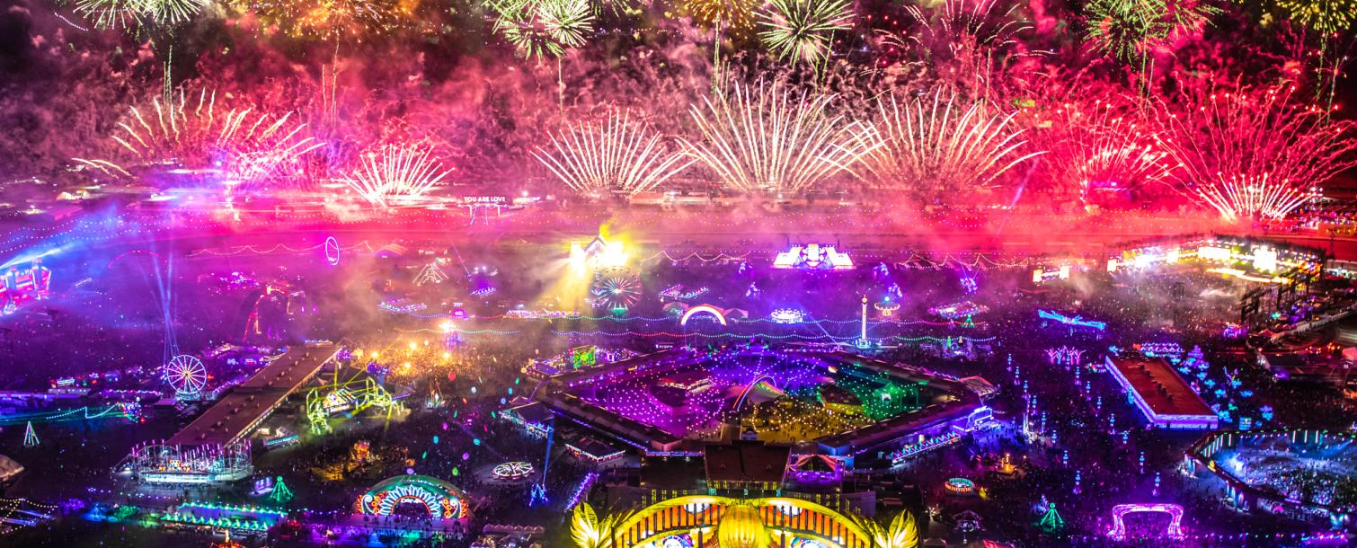 Aerial of EDC with fireworks