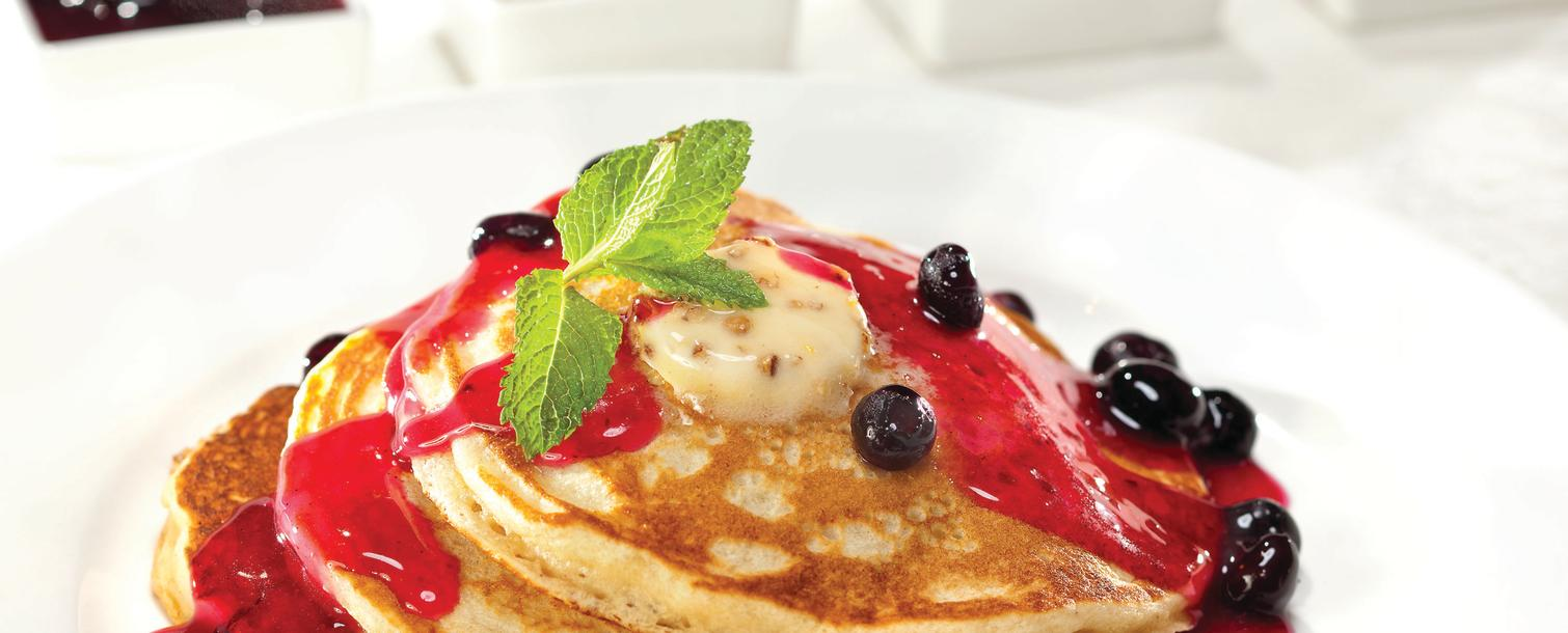 Pancakes with blueberry syrup from Pantry at the Mirage in Las Vegas, Nevada