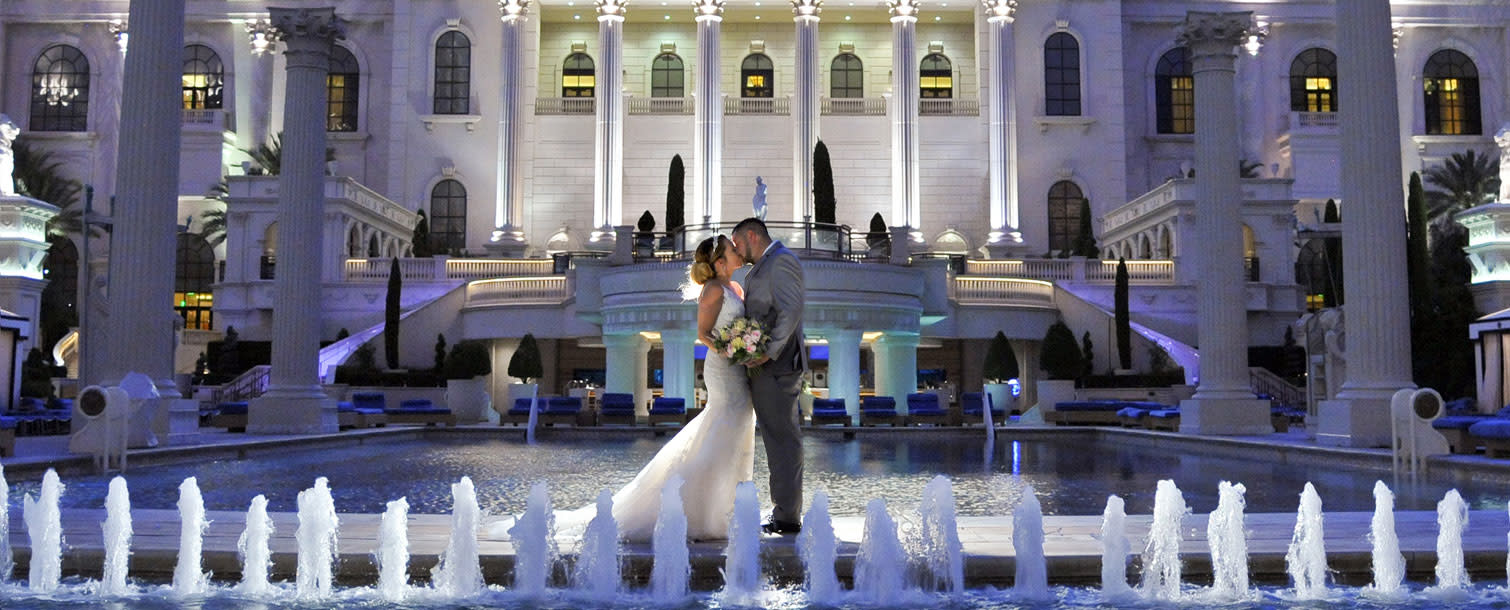 Wedding in front of Caesar's Palace