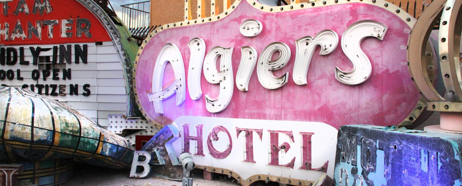 Algiers Hotel sign at the Neon Museum