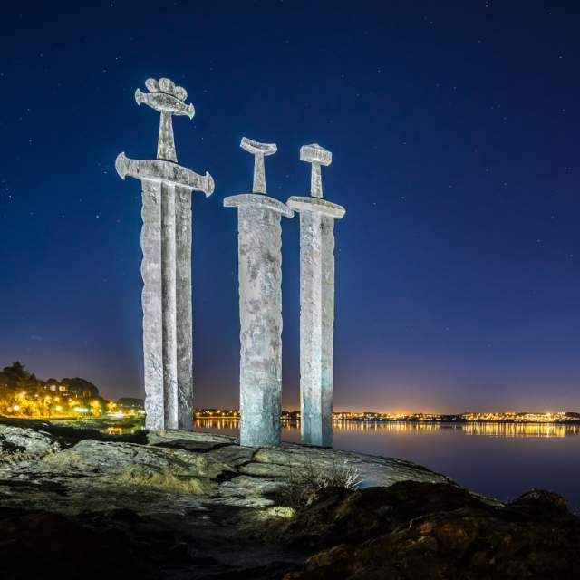 The Swords in Rock monument by Fritz Røed in Hafrsfjord, Fjord Norway