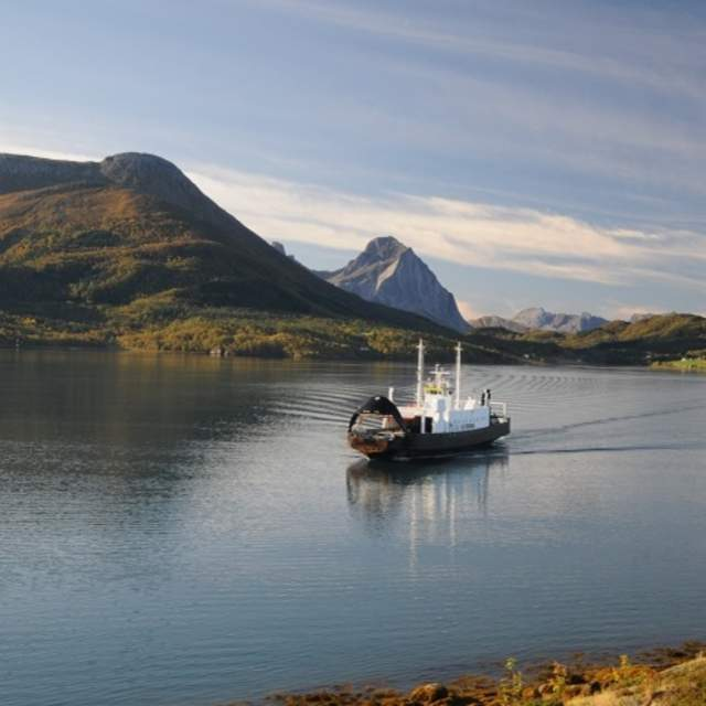 A ferry in the autumn near Kystriksveien in Northern Norway