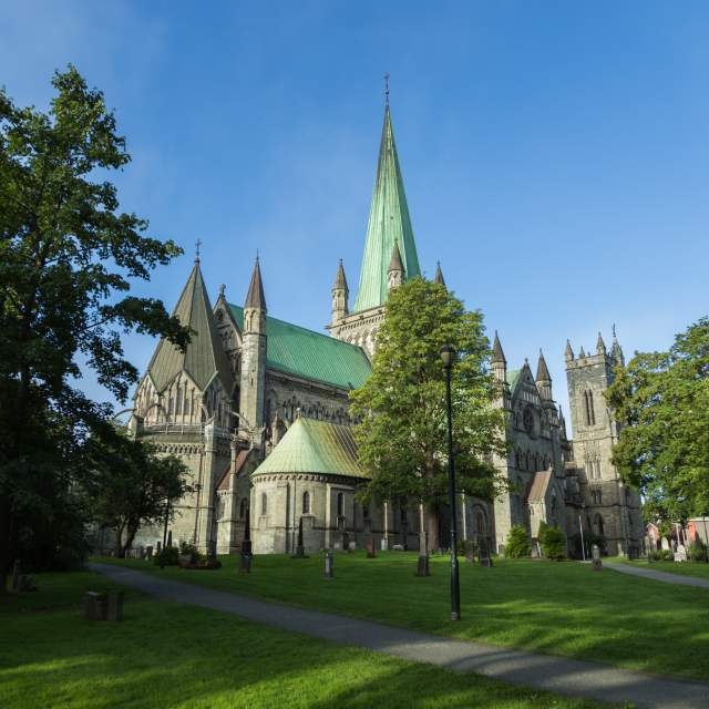 The Nidaros Cathedral in Trondheim, Norway on a summer day