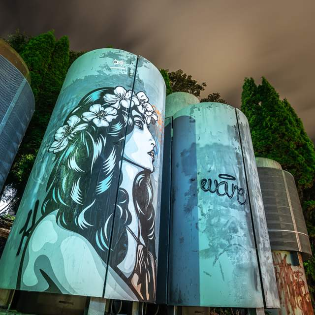 Street art by Ener Konings on a silo in Stavanger, Fjord Norway
