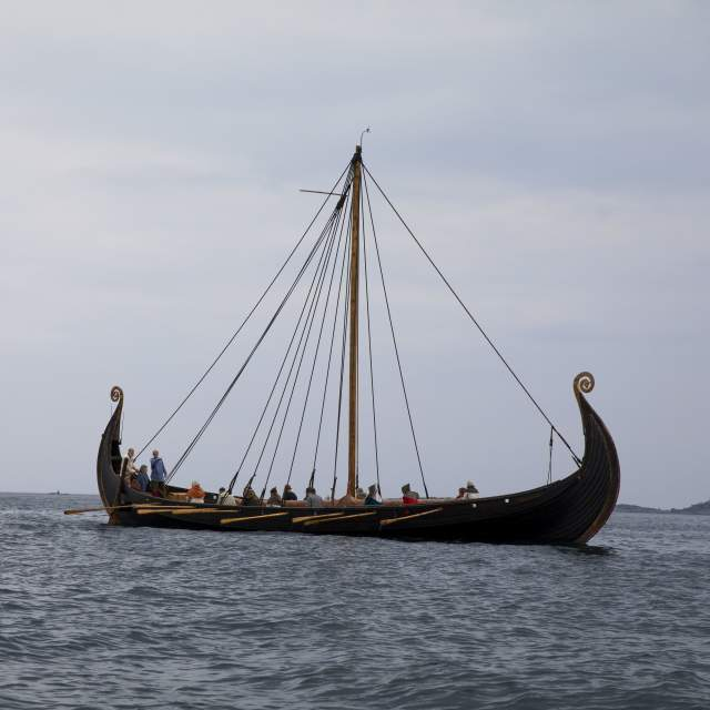 A Viking ship on the water