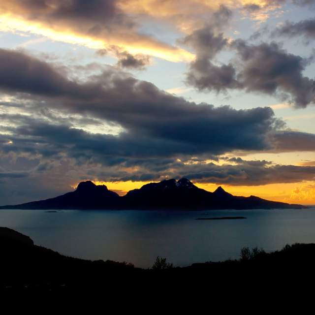 The midnight sun at Landegode island near Bodø, Northern Norway