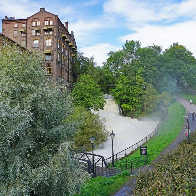 The Akerselva river that runs through the green capital Oslo in Norway