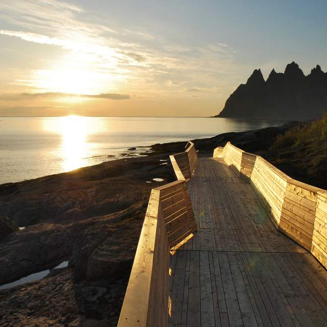 Tungeneset walkpath on Norwegian Scenic Route Senja in Northern Norway