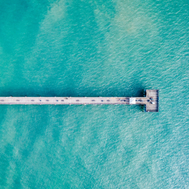 aerial shot of Dania Beach Pier