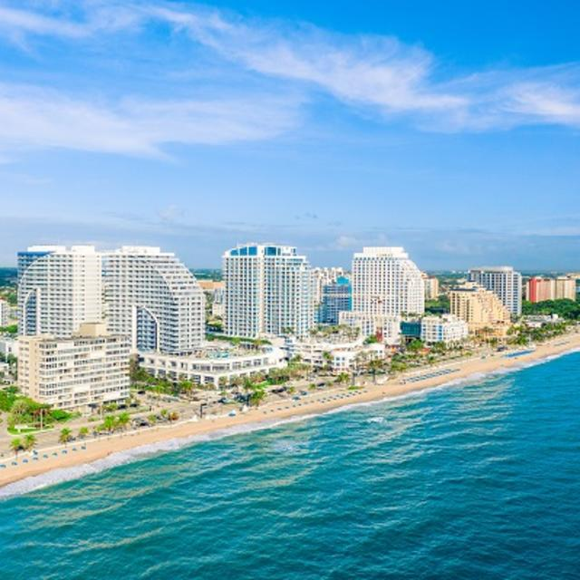 Aerial view of hotels along Fort Lauderdale beach taken from above the ocean to the east