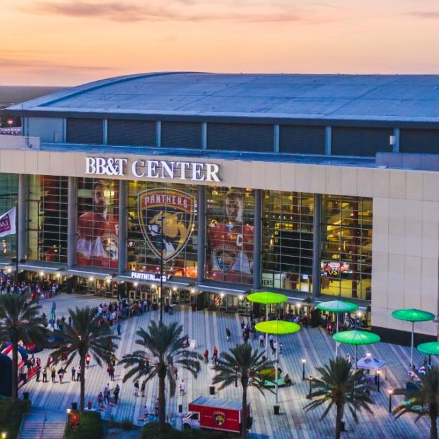 Aerial view of the BB&T Center in Sunrise, FL