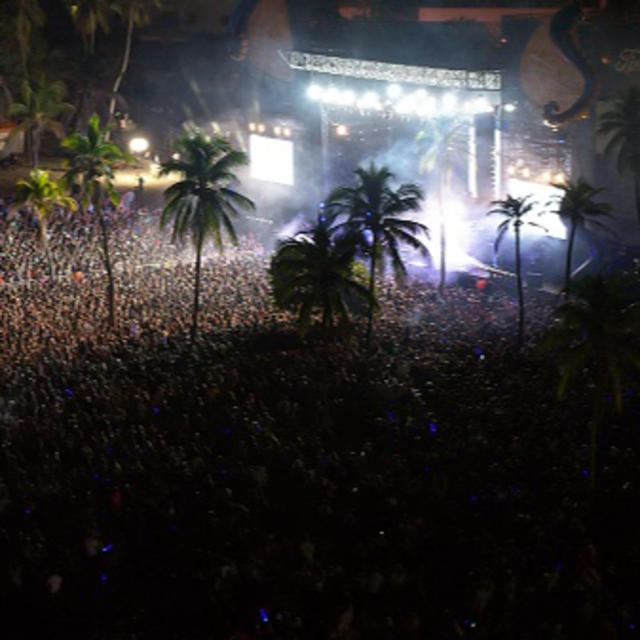 Aerial photo of crowd watching an outdoor concert at night. The stage is brightly lit which illuminates parts of the audience and palm trees