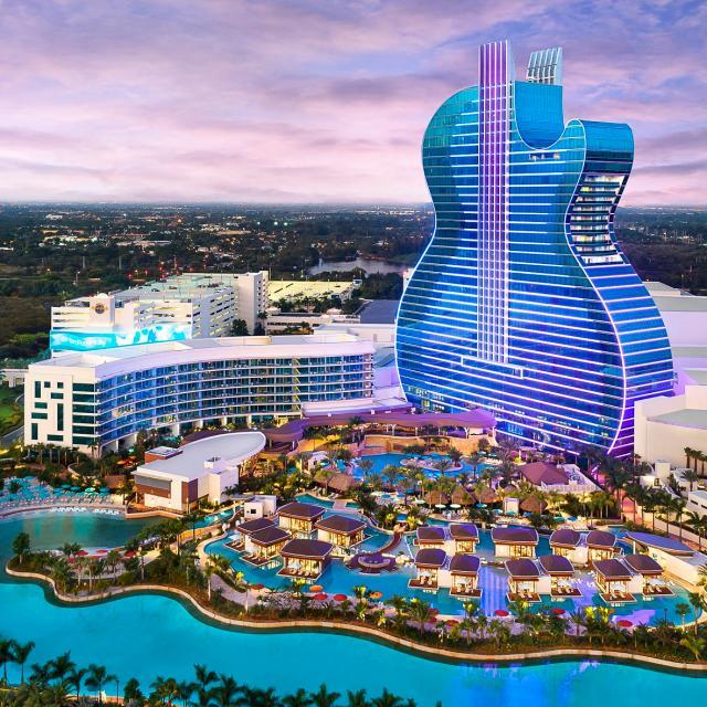 Guitar Hotel at Seminole Hard Rock Hotel & Casino and lagoon