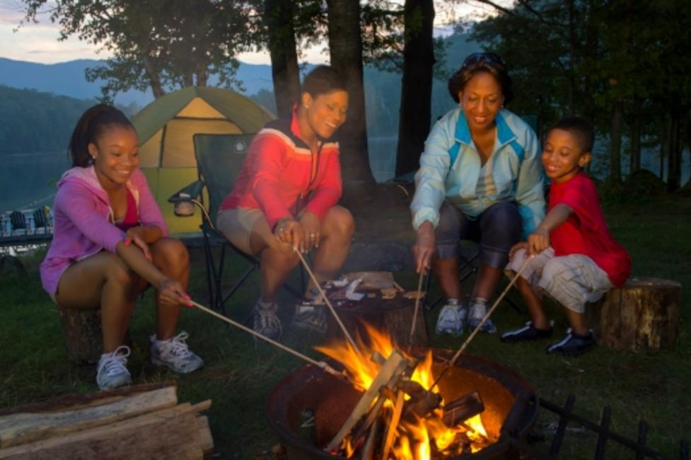 Family camping in Adirondacks