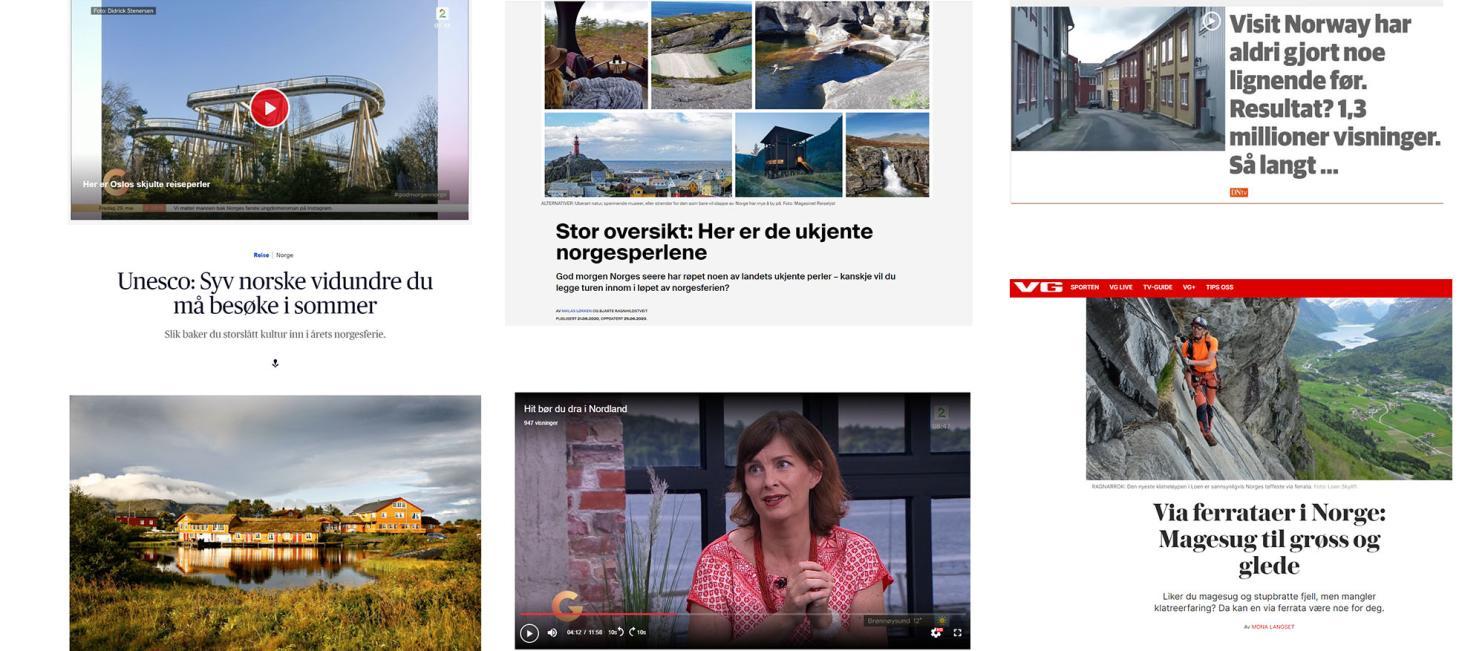 Skjermdumper pressesaker om Norge som ferieland sommeren 2020