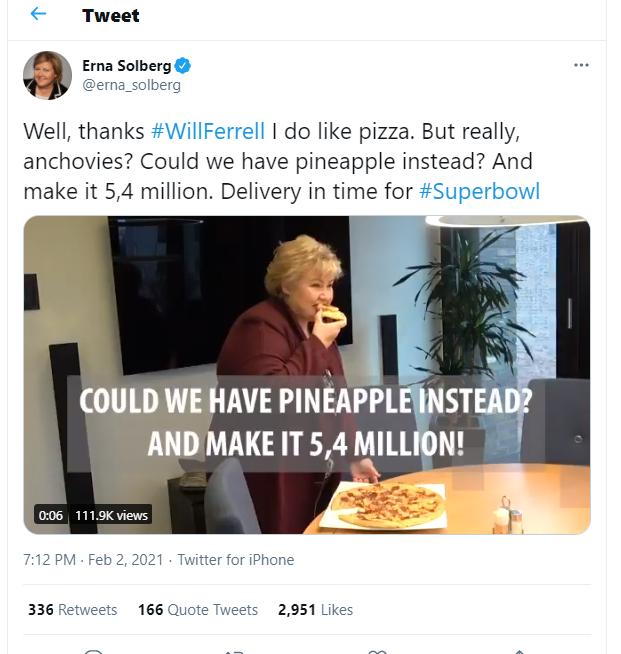 Prime Minister Erna Solberg on Twitter