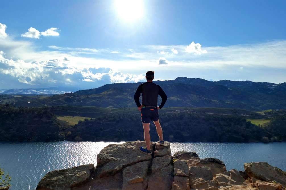 Man overlooking Horsetooth Reservior, Fort Collins