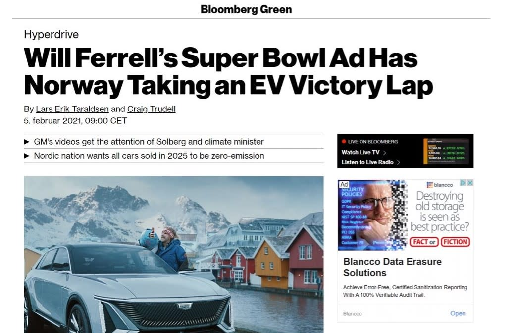 Will Ferrell's Super Bowl ad mentioned on Bloomberg.com