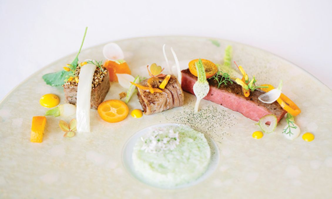 Artfully plated dish at The Umstead Hotel and Spa