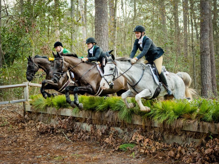 Riders Jumping