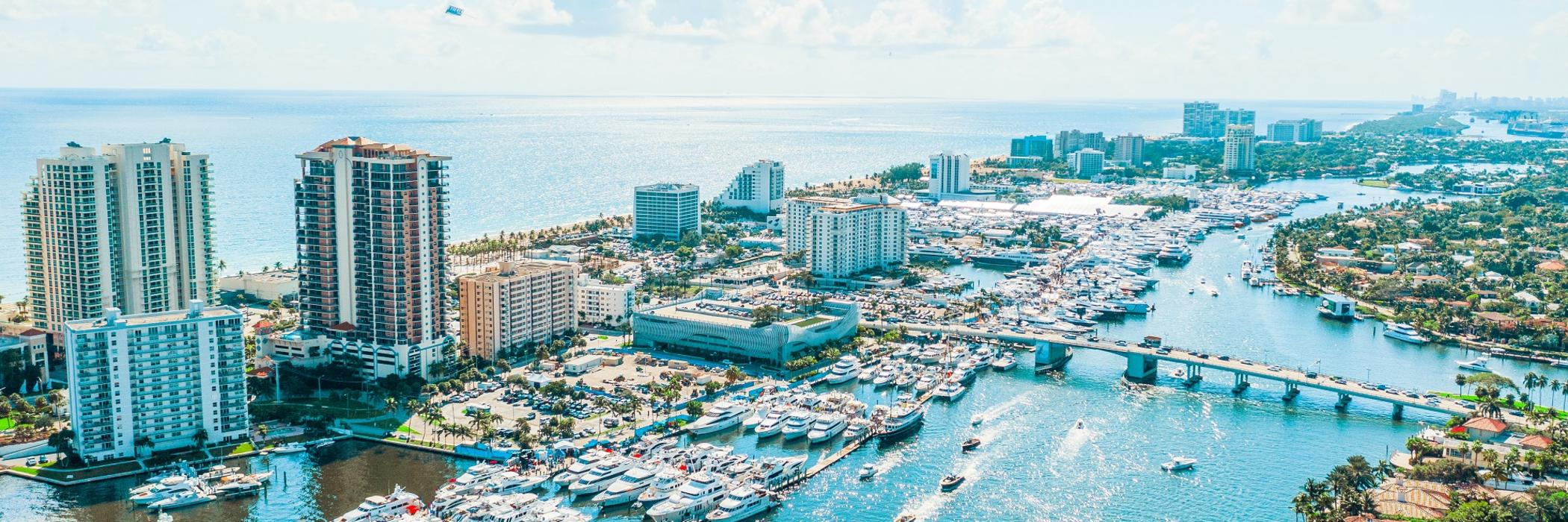 Aerial view of the Fort Lauderdale International Boat Show